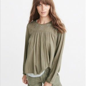 A&F Women's Green Embroidered Boho Peasant Top